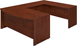 Bush Business Furniture Series C Elite 72W x 36D Bowfront U Station Desk Shell in Hansen Cherry