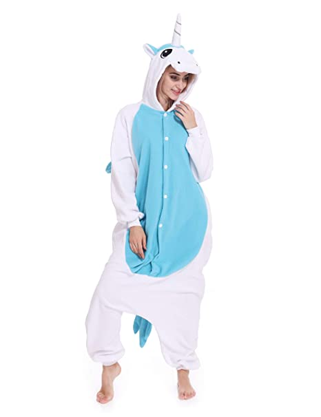 Unicorn One-Piece Pajamas Animal Cosplay Costume Halloween Sleepwear Unisex  for Adult a2ca26d65d3d