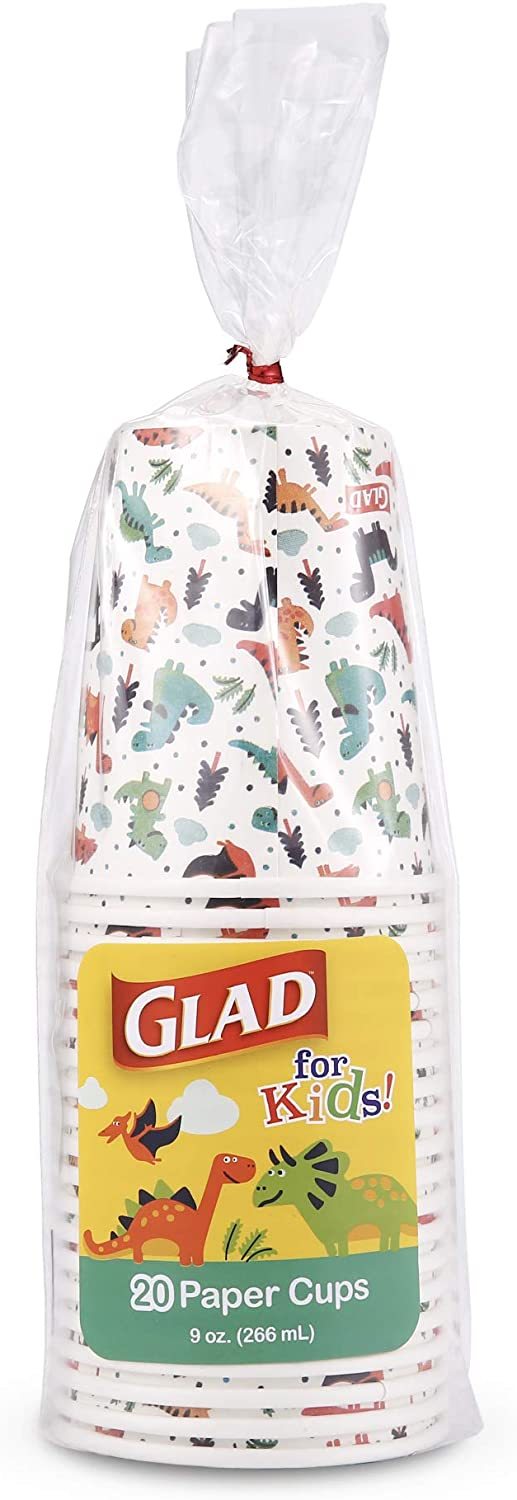 Glad for Kids Dinosaur Paper Cups, 20 Count White Paper Cups with Dinosaur Design for Kids Heavy Duty Disposable Paper Cups for Everyday Use and All Occasions, 9 Ounces, 20.0 Count