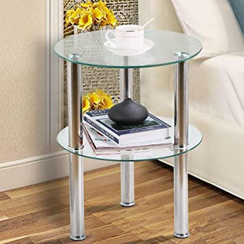 Exceptionnel Popamazing Clear Small Round Glass 2 Tier Sofa Side Table Stainless Steel  Legs With Storage Shelf