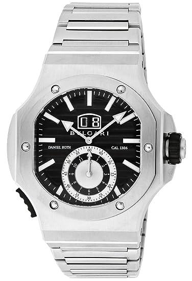 Bvlgari Negro Dial Automatic Winding FECHA 100 M resistente al agua hombres reloj bre56bssdchs