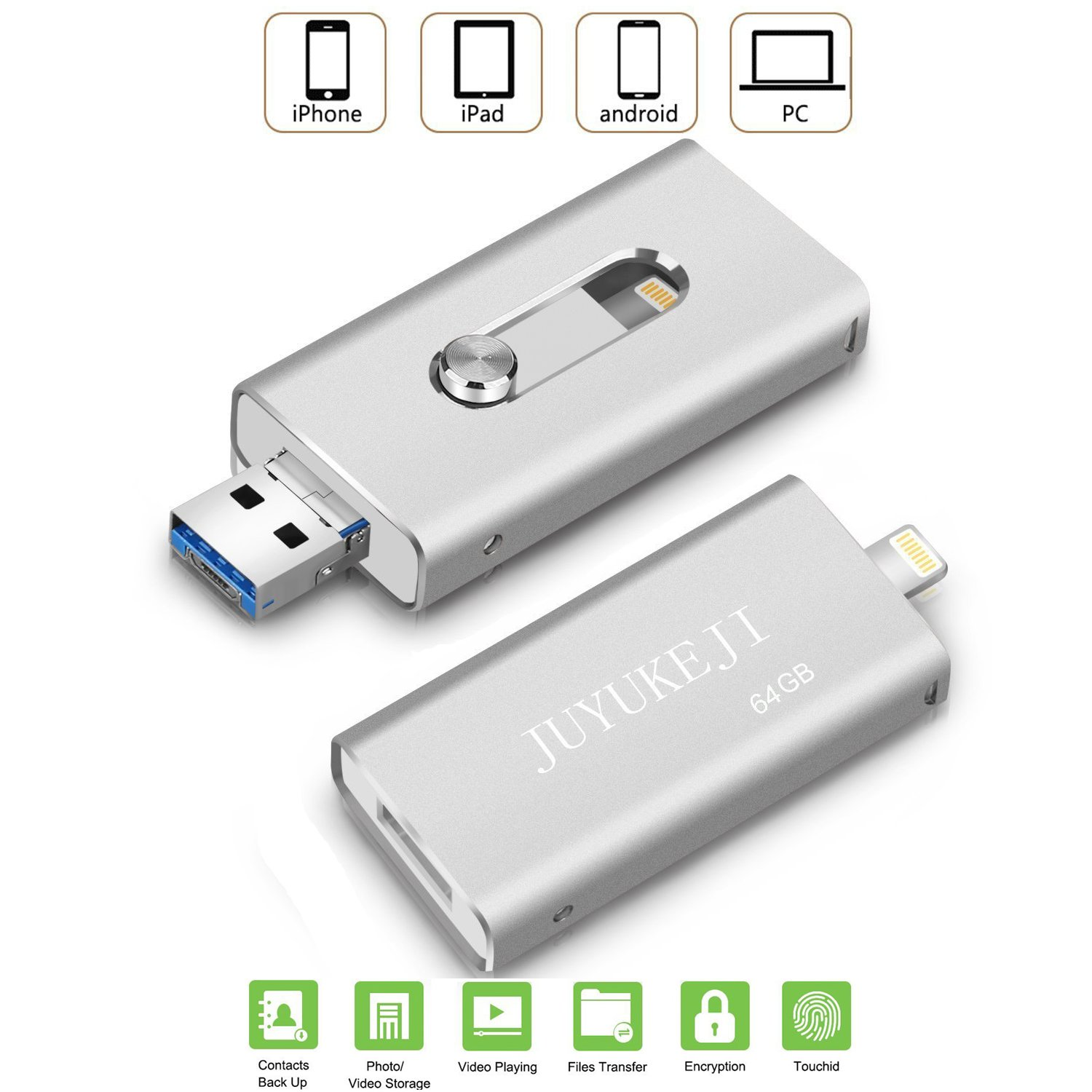 IOS Flash Drive iPhone iPad OTG - Pen Drive with USB Micro USB and Lightning(3 in 1) Connector, JUYUKEJI Jump Drive U Disk External Memory Stick for Apple Andriod and Computer (32GB, Silver)