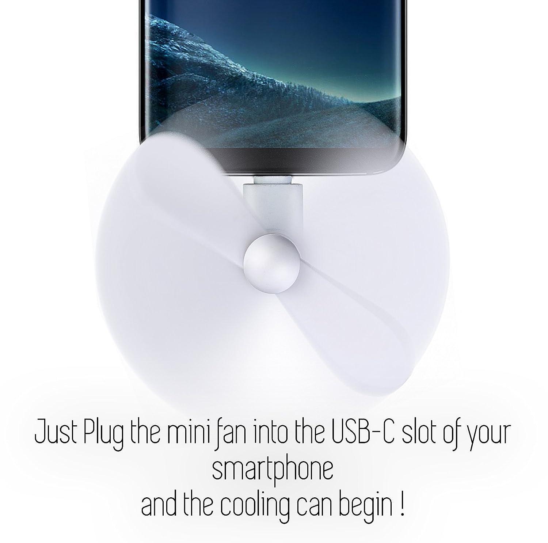LG G5 G6 Fan El/éctrico OTG en Samsung S8 Plus HTC U11 10 EVO MyGadget Ventilador USB C Mini para Tel/éfono M/óvil Smartphone Android Naranja
