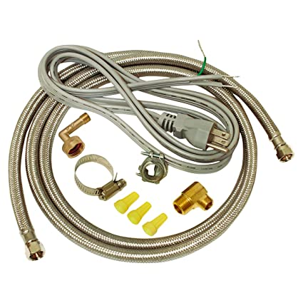 EZ-FLO 48337 Dishwasher braided stainless steel Installation Kit with 72-in  connector & 6 ft  pigtail cord