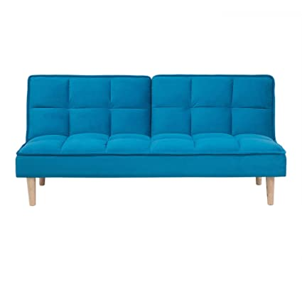 Modern Fabric Sofa Bed Click Clack Armless Living Room Blue Siljan