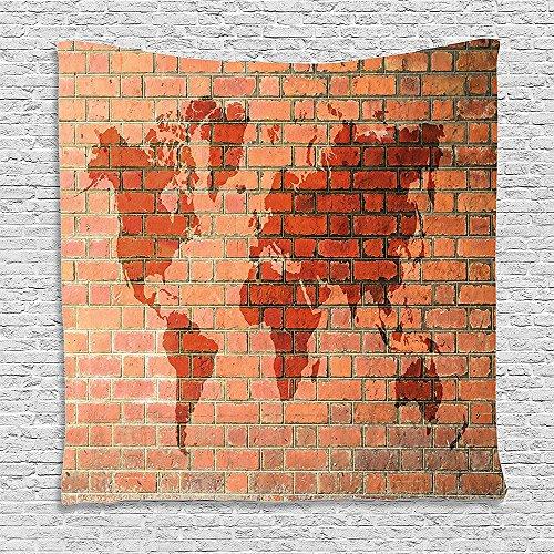 Orange Mens Wool Brick - SCOCICI Supersoft Fleece Throw Blanket Rustic Home Decor Brick Wall with World Atlas Map Reflection Pattern Contemporary Artful Scene Orange 59 x 59 Inches