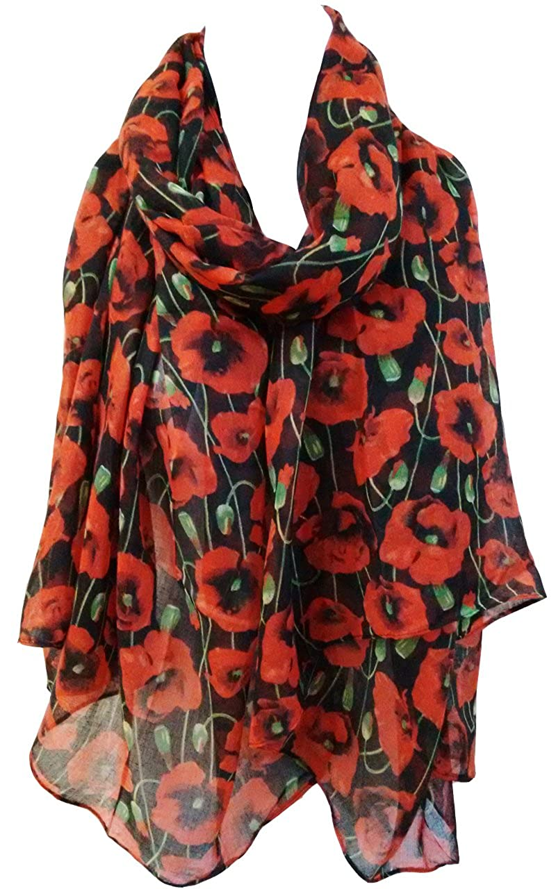 GlamLondon Poppy Print Scarf Red Perfect Poppies Flower Printed Fashion Ladies Womens Classy Big Wrap