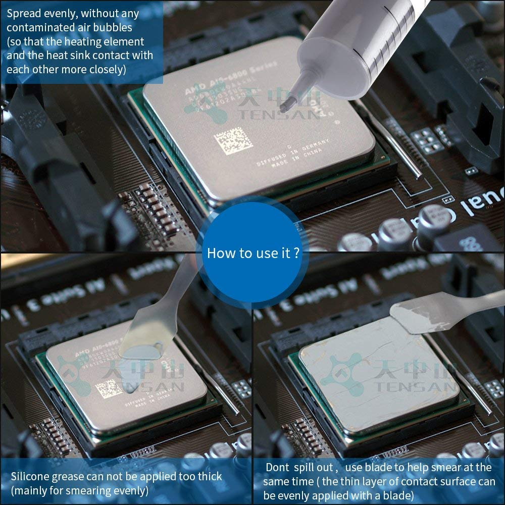 Thermal Compound CPU for All Coolers- 5Gram Thermal Conductivity:3.14W//m-k Thermal Paste;Heatsink Paste; Carbon Based High Performance MoneyQiu HY-710-5pcs Heatsink Paste 1pcs-1g