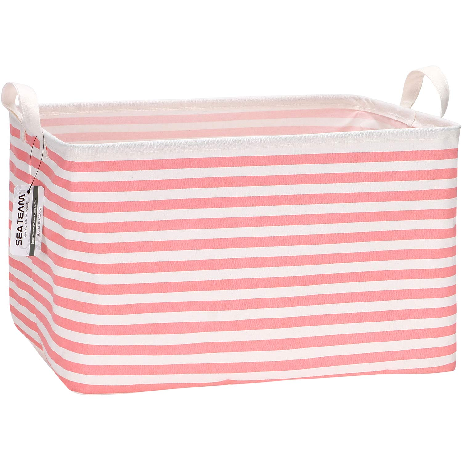 Sea Team 16.5 x 11.8 x 9.8 inches Square Canvas Fabric Storage Bins Shelves Storage Baskets Organizers for Nursery & Kid's Room, Pink Stripe