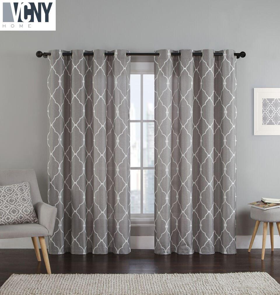 2 Pack: Devlin Quatrefoil Linen Weave Textured Quatrefoil Curtains