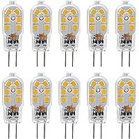 KDP 10-Pack G4 2W LED ampoule pour les ampoules de hotte, 20W ampoules halogènes équivalentes, 200LM, Bi-Pin avec couvercle en PVC transparent, blanc chaud 3000K, DC/AC 12V, non-dimmable