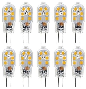 Ampoule Led G4 12v 20w.Kdp 10 Pack G4 2w Led Ampoule Pour Les Ampoules De Hotte 20w Ampoules Halogenes Equivalentes 200lm Bi Pin Avec Couvercle En Pvc Transparent Blanc