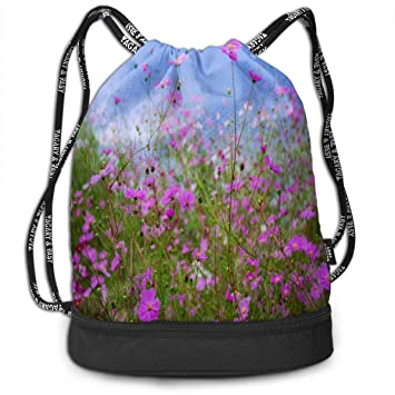 Drawstring Bag Field of Purple Flowers Womens Gym Backpack Inspiring Mens  Travel Canvas Bags for Youth 74c83877b2