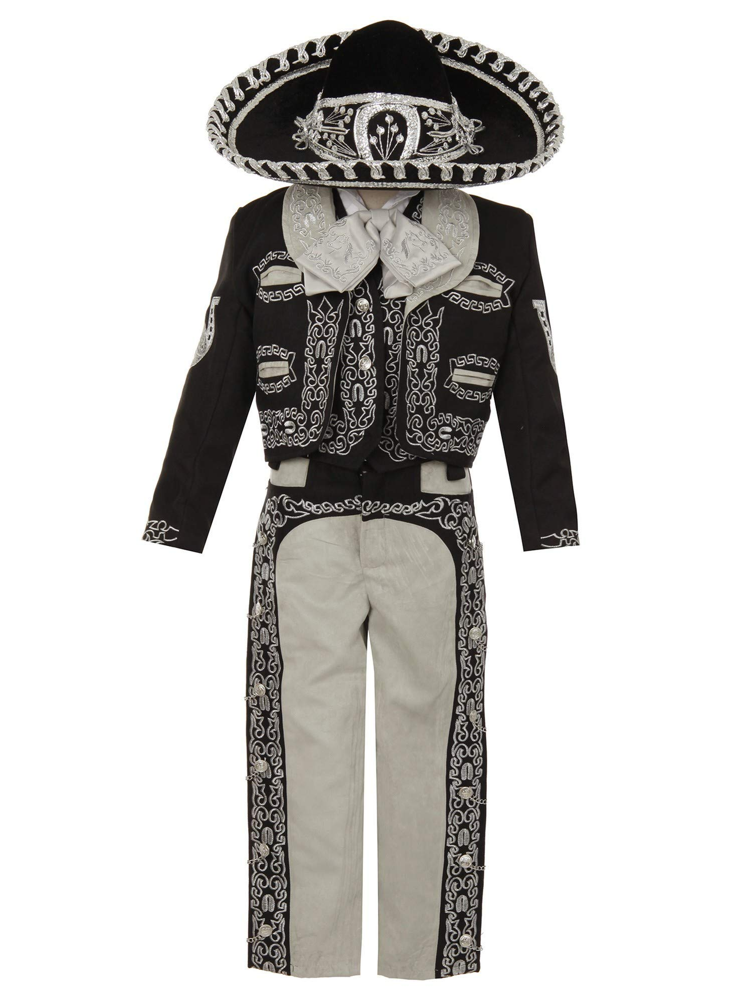 Rain Kids Baby Boys Black Silver Horse Embroidery Elegant 6 Pc Charro Suit 12M by The Rain Kids