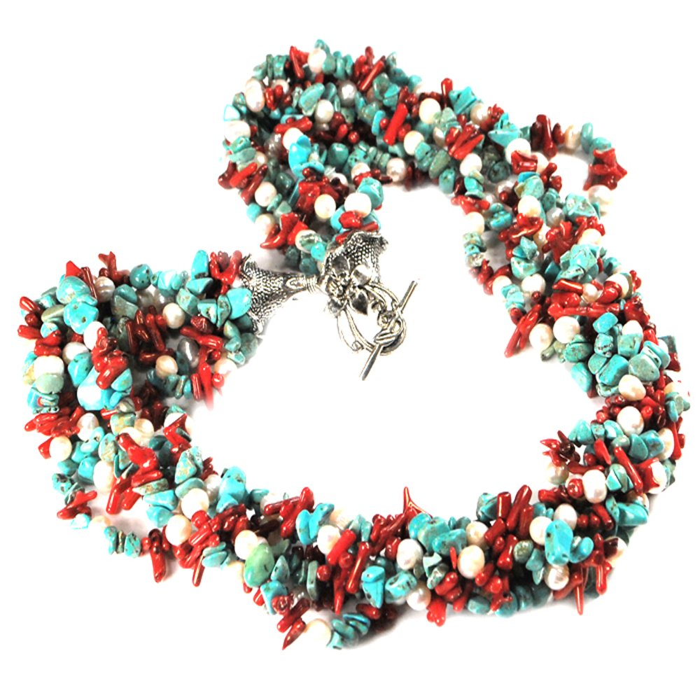 Ny6design 009 Multi Strands Turquoise, Coral & Cultured Freshwater Pearl Silver Tone Toggle Necklace 24'' N14062501j by Ny6design