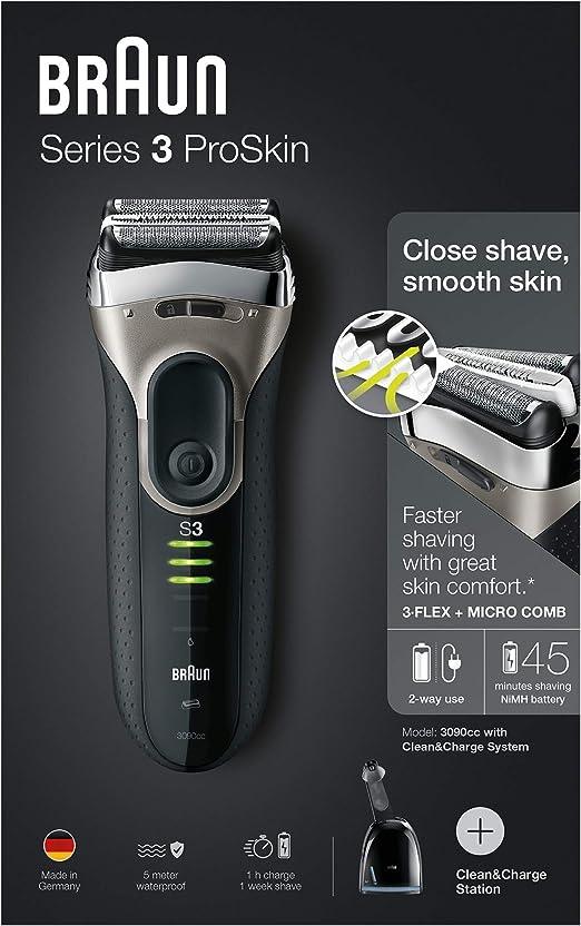 Braun 3090cc - Afeitadora eléctrica rotativa para hombre con base de carga, color negro: Amazon.es: Salud y cuidado personal
