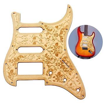 ammoon SSH Pickguard de Guitarra de Madera Madera de Arce con el Patrón Decorativo de la