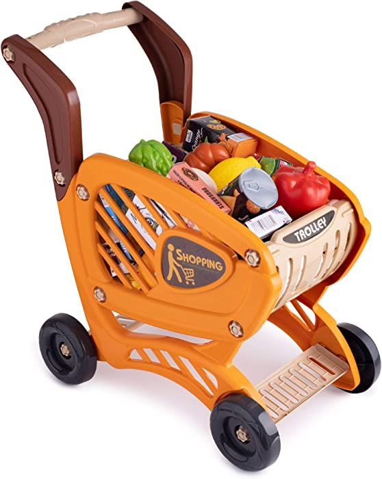 Hoovy Shopping Cart Toy for Kids, Grocery Cart with 42pc Pretend Play Set | Realistic Grocery Food with Pretend Money, Fruit, and Vegetables Items for Kids Age 3+