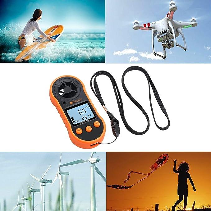 Neoteck Anemómetro Digital LCD Medidor de Velocidad del Viento ...
