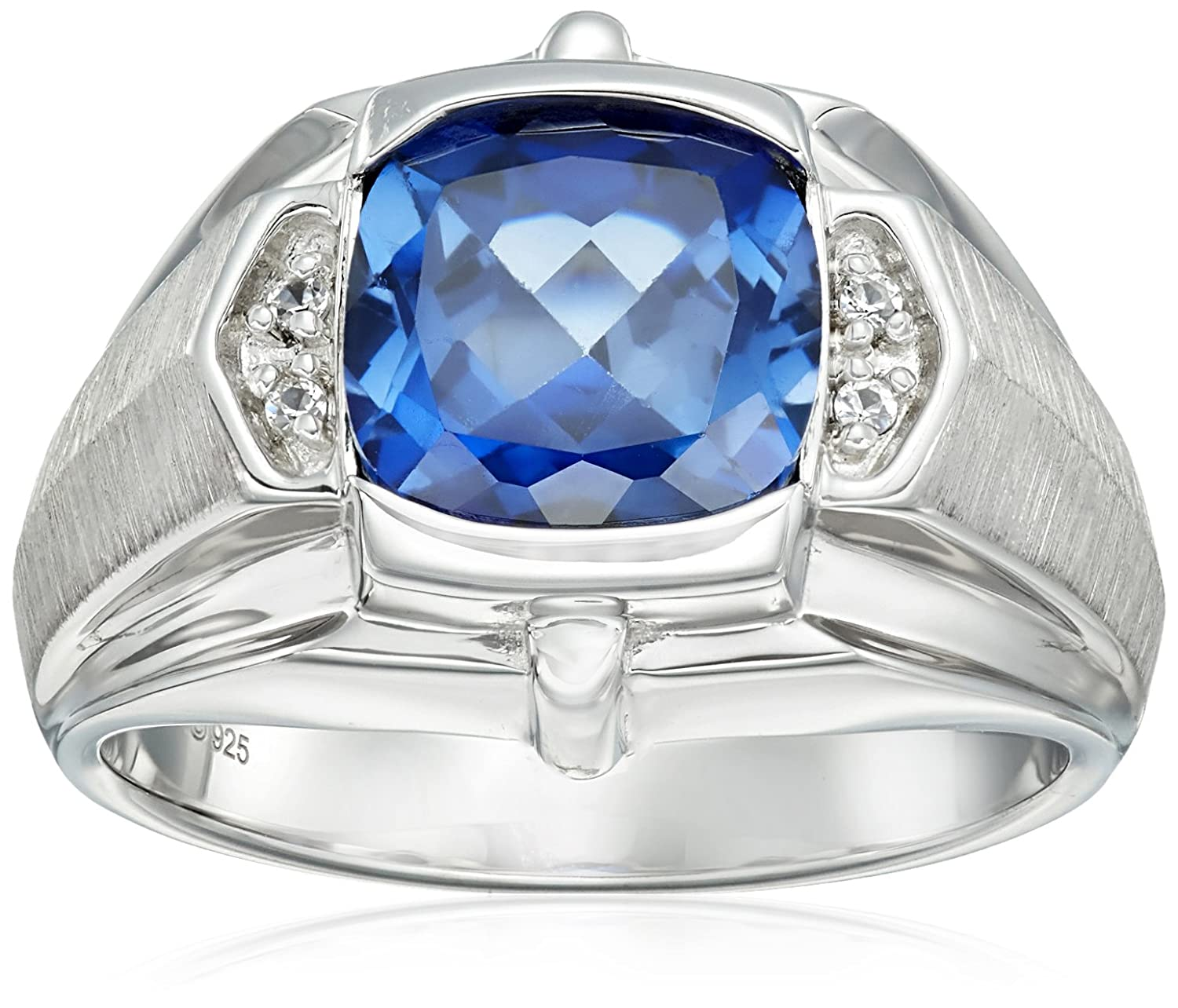 sterling with white created silver in sapphire ring