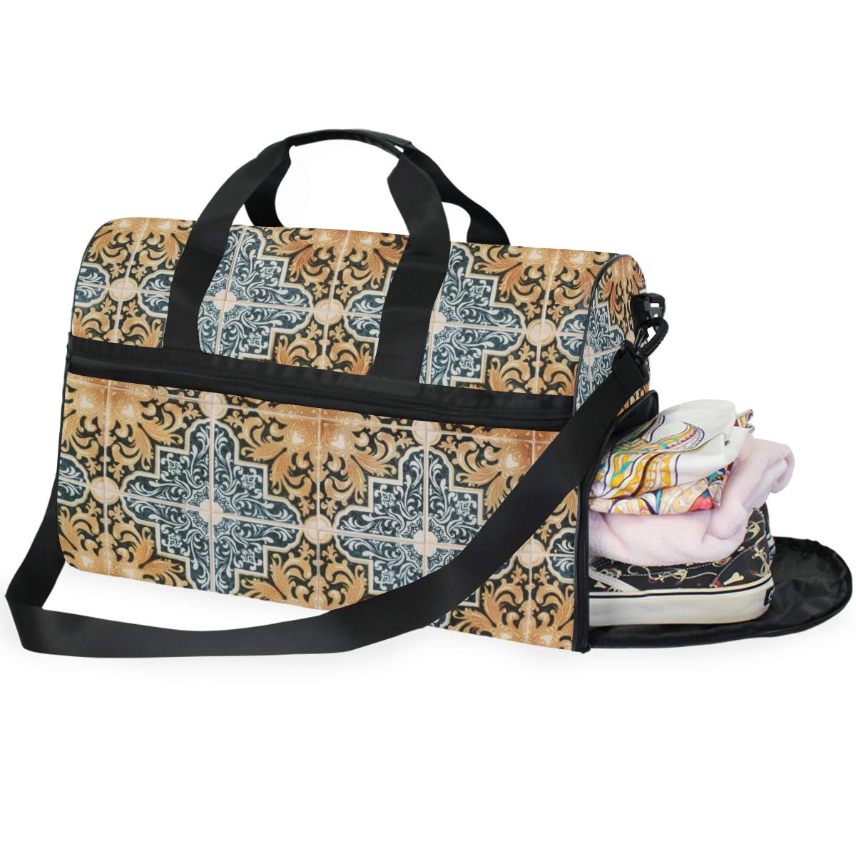 FAJRO Gym Bag Travel Duffel Express Weekender Bag Ivy Flourishment Carry On Luggage with Shoe Pouch