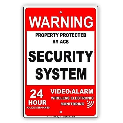 Red Warning Propiedad protegida por ACS Sistema de seguridad ...