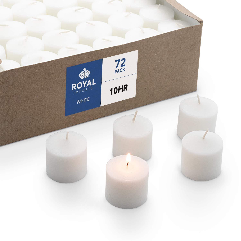 Vela de cera blanca sin perfume, caja con 72 pzas.