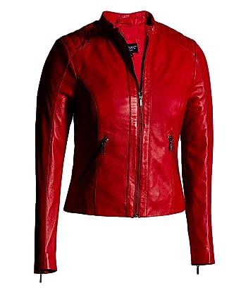 abb326b8 Corbani Red Leather Jacket for Women Moto Fashion – Genuine Leather Jacket  (X-Small, Red)