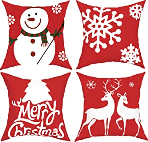 BLEUM CADE Pack of 4 Merry Christmas Throw Pillow Covers Deer Snowflakes Snowman Decorative Pillow Covers for Sofa Couch Bed and Car Throw Pillow Covers
