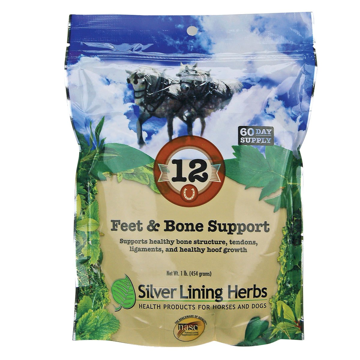 Equine Feet and Bone Support | Supports Healthy Horse Hoof Growth  |  Helps Support Healthy Bones, Tendons and Ligaments | 1 Pound Resealable Bag | Made by Silver Lining Herbs in the USA of Natural Herbs by Silver Lining Herbs