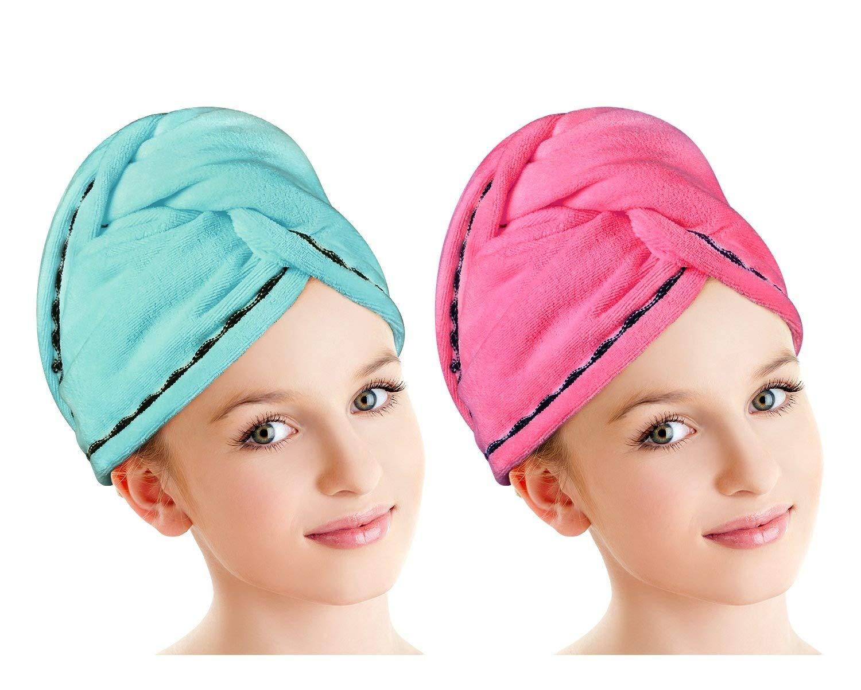 Luxspire Bonnet de Bain, en Microfibre pour le Séchage des Cheveux[Lot de 2], pour Cheveux à Séchage Rapide, Turban pour les Cheveux Longs, Serviette de Douche pour le Bain avec Boutons, Super Absorbant L'eau, Jaune et Rose Super Absorbant L' eau