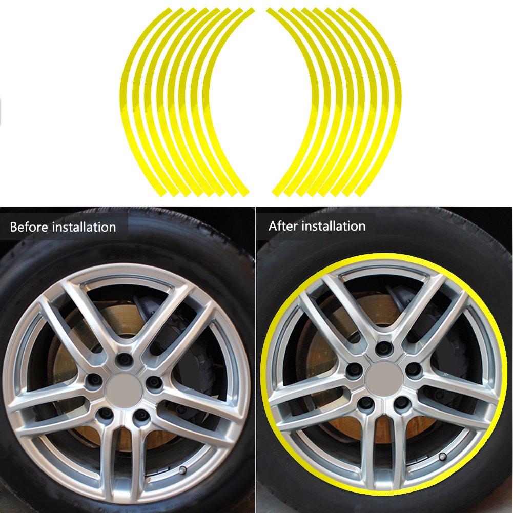 Verde oscuro Elerose Ribete de borde de raya de 16 ruedas Adornos para autom/óviles de 16-19 pulgadas ruedas de bicicleta y motocicleta