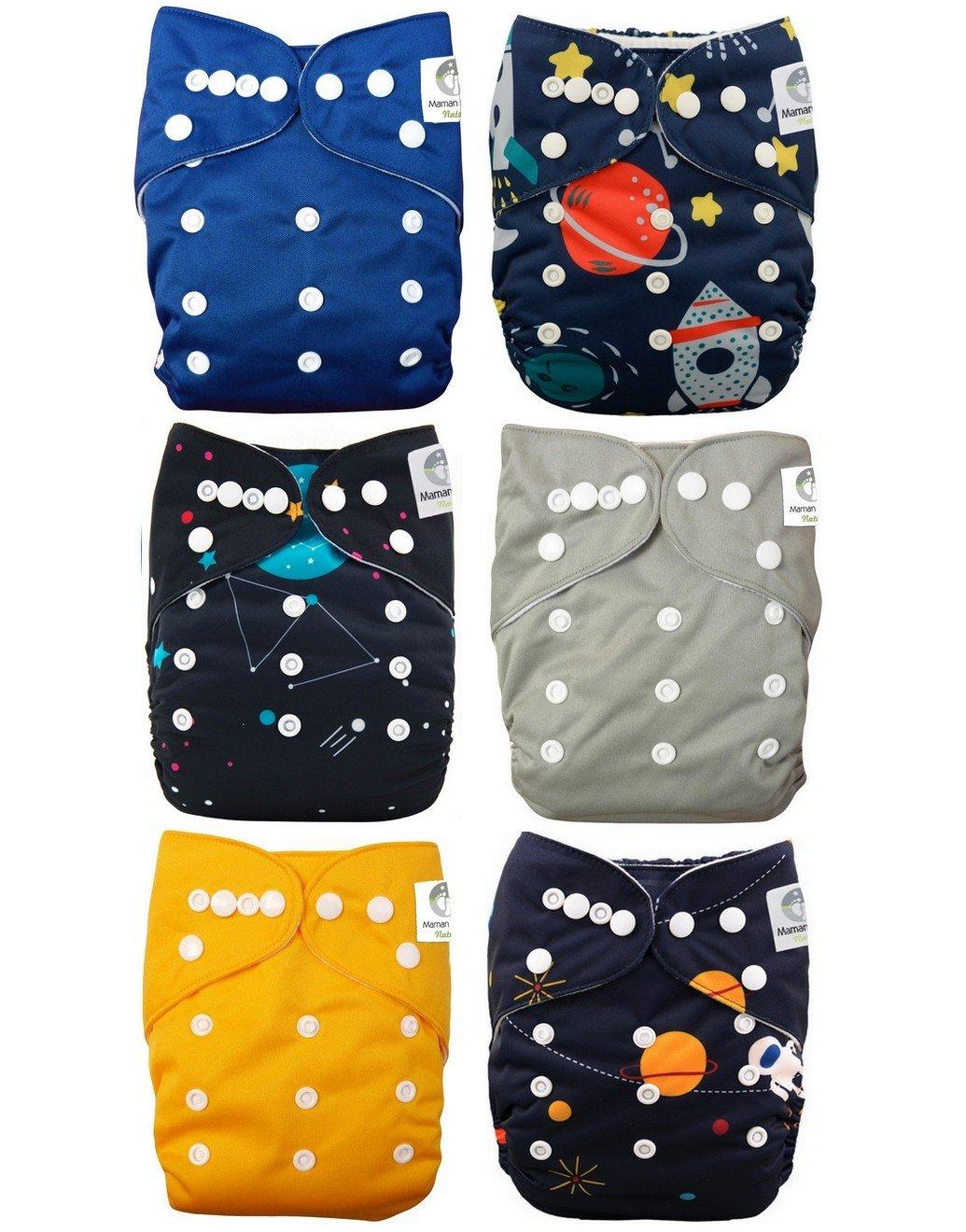 Lot de 6 couches lavables te1 tout en Un + 6 inserts en microfibre - Lune Maman et bb Nature