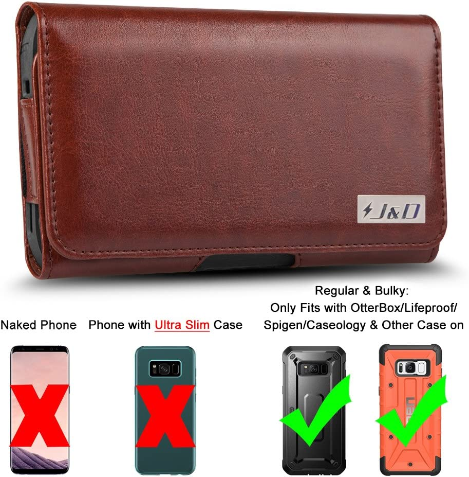 PU Leather Holster Pouch and ID Wallet Case Only Fits with Naked Phone or J/&D TPU Slim Case On J/&D Holster Compatible for Galaxy S10e//Galaxy S9//Galaxy S8//Galaxy S7//Galaxy S6 Holster with Belt Clip