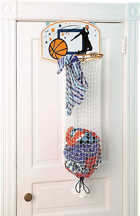 Taylor Toy Basketball Hoop Hamper - Laundry Basket for Kids - Hanging Hamper