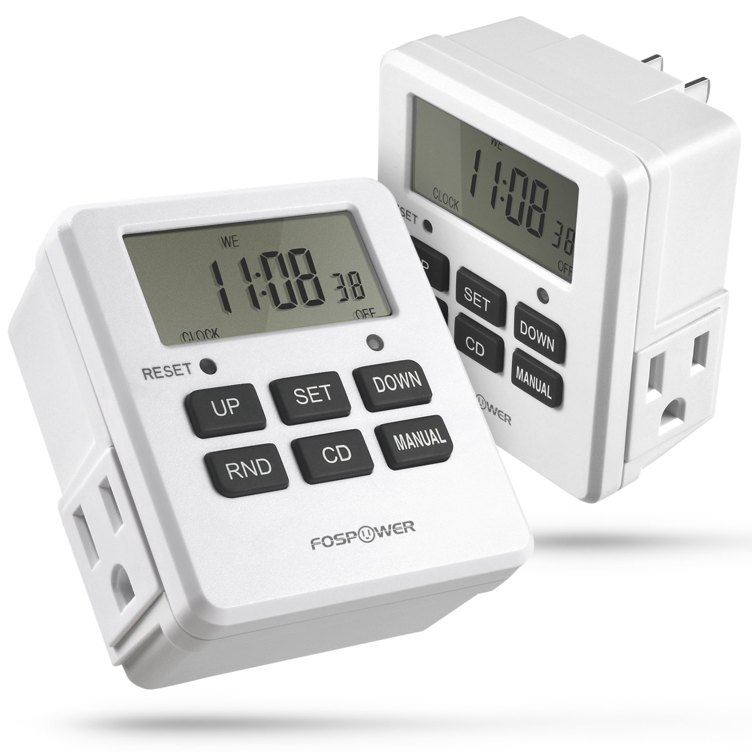 Digital Outlet Timer (2 Pack), FosPower [ETL Listed] Digital LCD Dual Outlet Programmable Timer, 7 Day Weekly Electrical Light Switch with 2 AC Plug 3-Prong Outlets - White