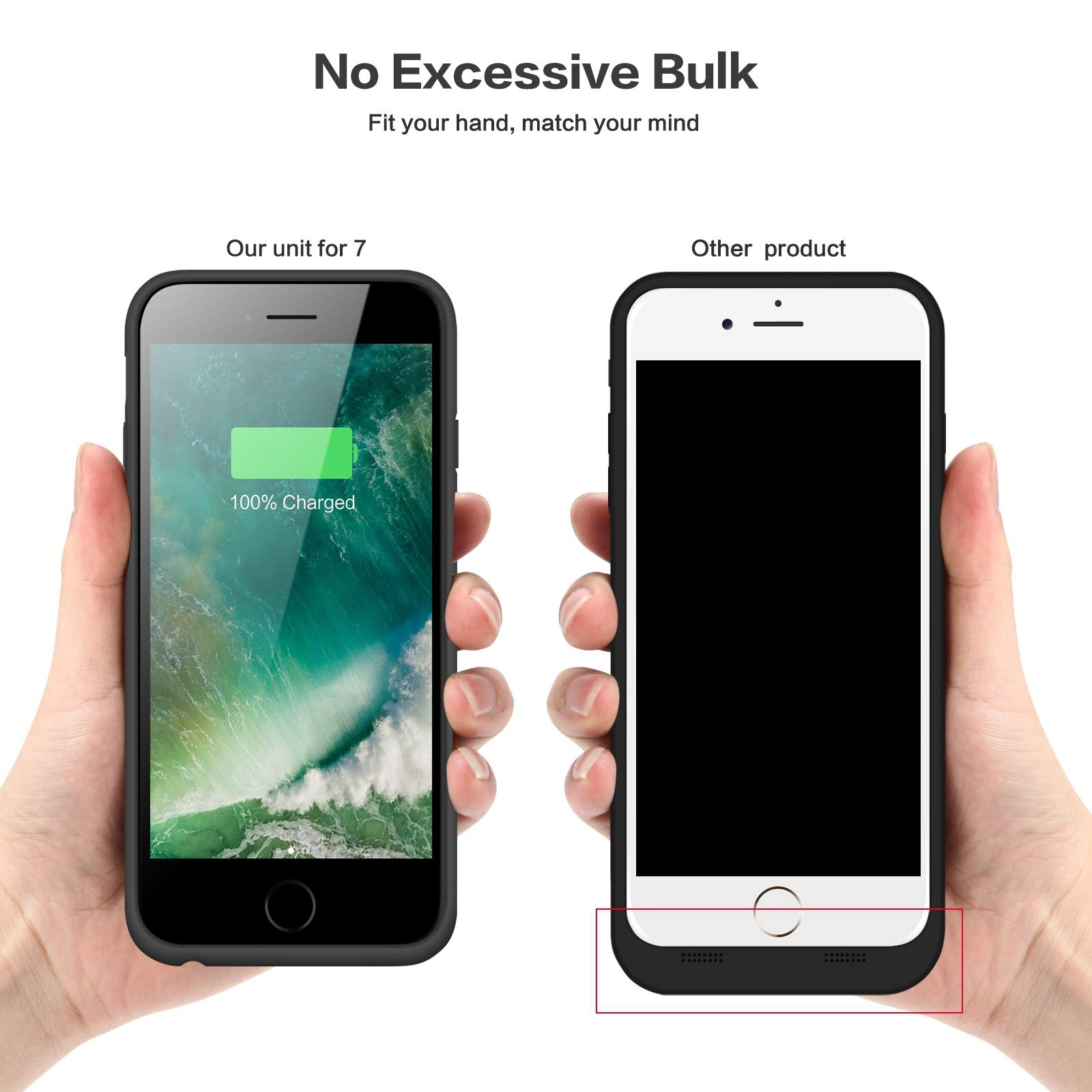 Battery case for iPhone 8/7, Xooparc [6000mah] Upgraded Charging Case Protective Portable Charger Case Rechargeable Extended Battery Pack for Apple iPhone 7/8(4.7') Backup Power Bank Cover (Black) by Xooparc (Image #6)