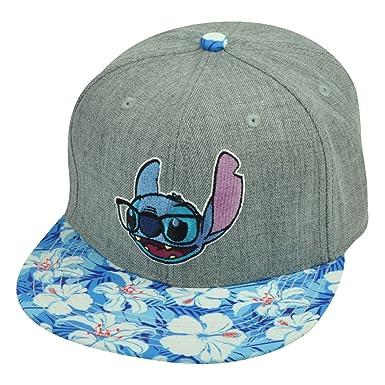 29fa8a3e844 Lilo Stitch Hawaiian Floral Print Glasses Flat Bill Snapback Movie Hat Cap  Grey