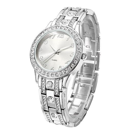 Reloj de mujer con brazalete de acero inoxidable chapado en cristal: Amazon.es: Relojes
