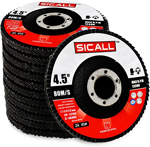 Sicall 12 Pack Flap Discs And Sanding Discs T29 40 Grit Cut-Off-Wheels Zirconia Abrasive Grinding Wheel And Flap Sanding Stainless Steel Abrasive For Metal Wood Ceramic