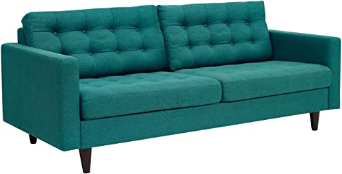 Modway Empress Mid-Century Modern Upholstered Fabric Sofa In Teal