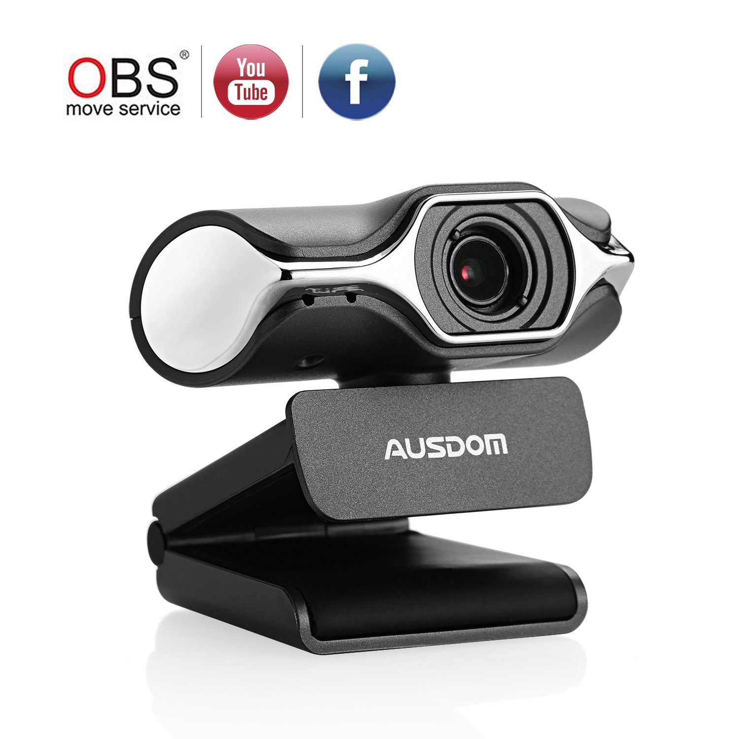 Ausdom Full HD Webcam 1080p, Live Streaming Camera, USB Webcam for Widescreen Video Calling and Recording, Support Facebook YouTube Streaming, Compatible for MAC OS Windows 10/8/ 7 AW620