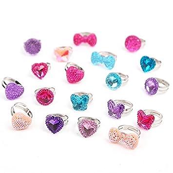 Beyond Dreams® 13 anillos infantiles transparentes aptos | regalo para fiestas de cumpleaños | Anillos con piedras de imitación brillantes coloridos | ...