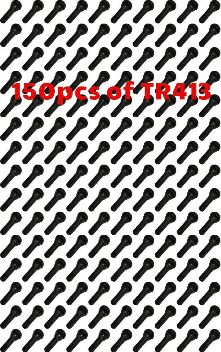 Octopus 150 PCS TR 413 TR413 SNAP-in TIRE Valve Stems Short Black Rubber New