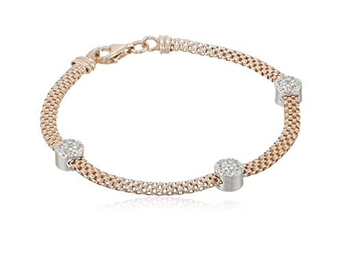 Italian Sterling Silver Rose-Tone Mesh and Cubic Zirconia Stations Bracelet, 7.5