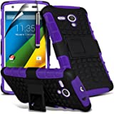 ( Purple ) Motorola Moto G 4G LTE Case Tough Survivor Hard Rugged Shock Proof Heavy Duty Case W/ Back Stand, LCD Screen Protector Guard, Polishing Cloth & Mini Retractable Stylus Pen by ONX3