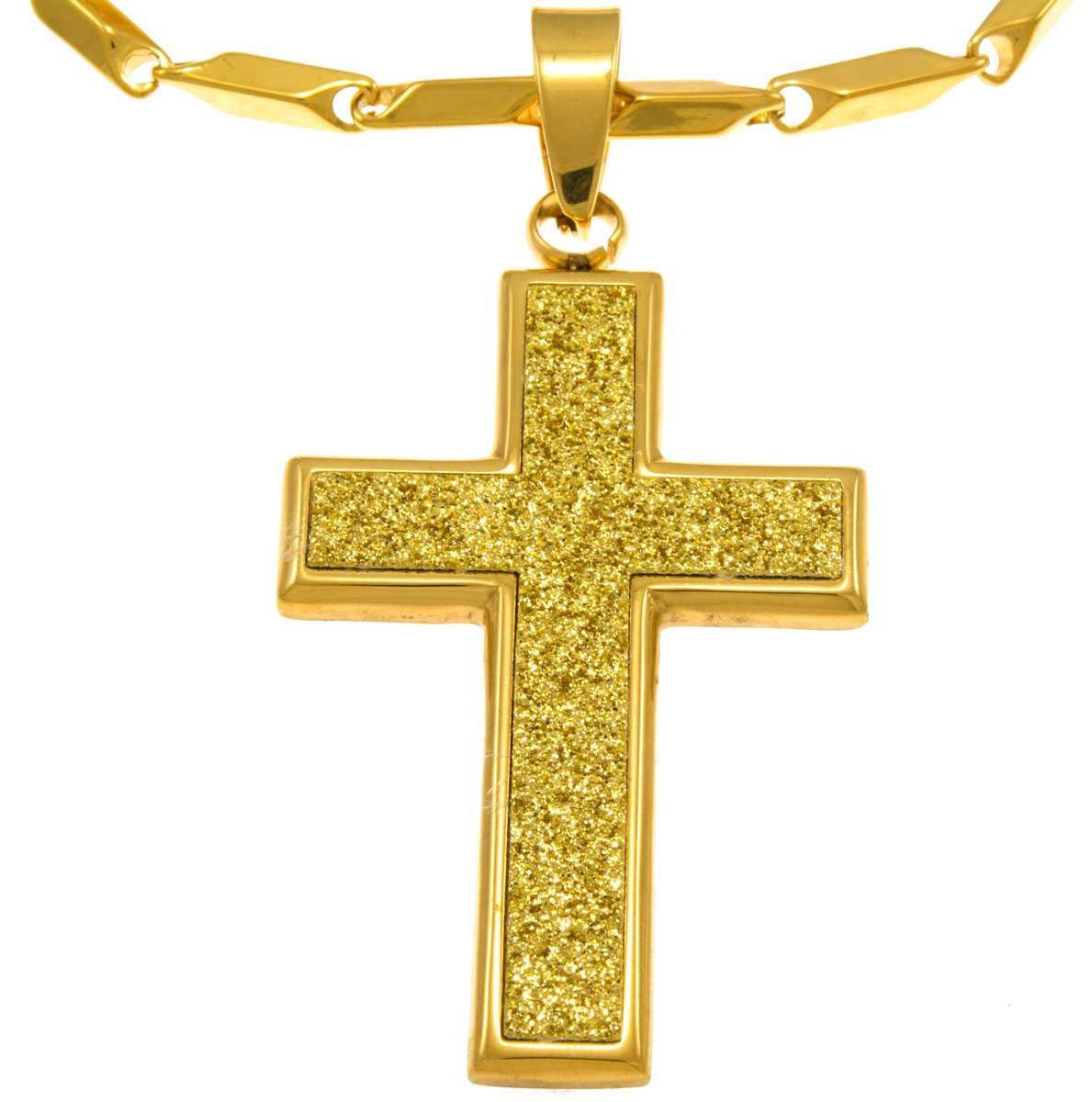 Hip Hop Bling Iced Surgical Stainless Steel Pava Block Cross Gold Tone Pendant Free 36 Chain