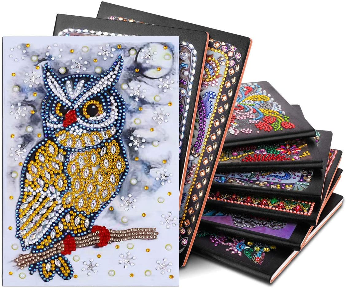 DIY Special Shaped Diamond Painting Unruled Composition Notebook for School//Office Writing and Planning EOBROMD Diamond Painting Notebook 104 Pages with Flexible Cover Yellow Owl 5.8x8.2