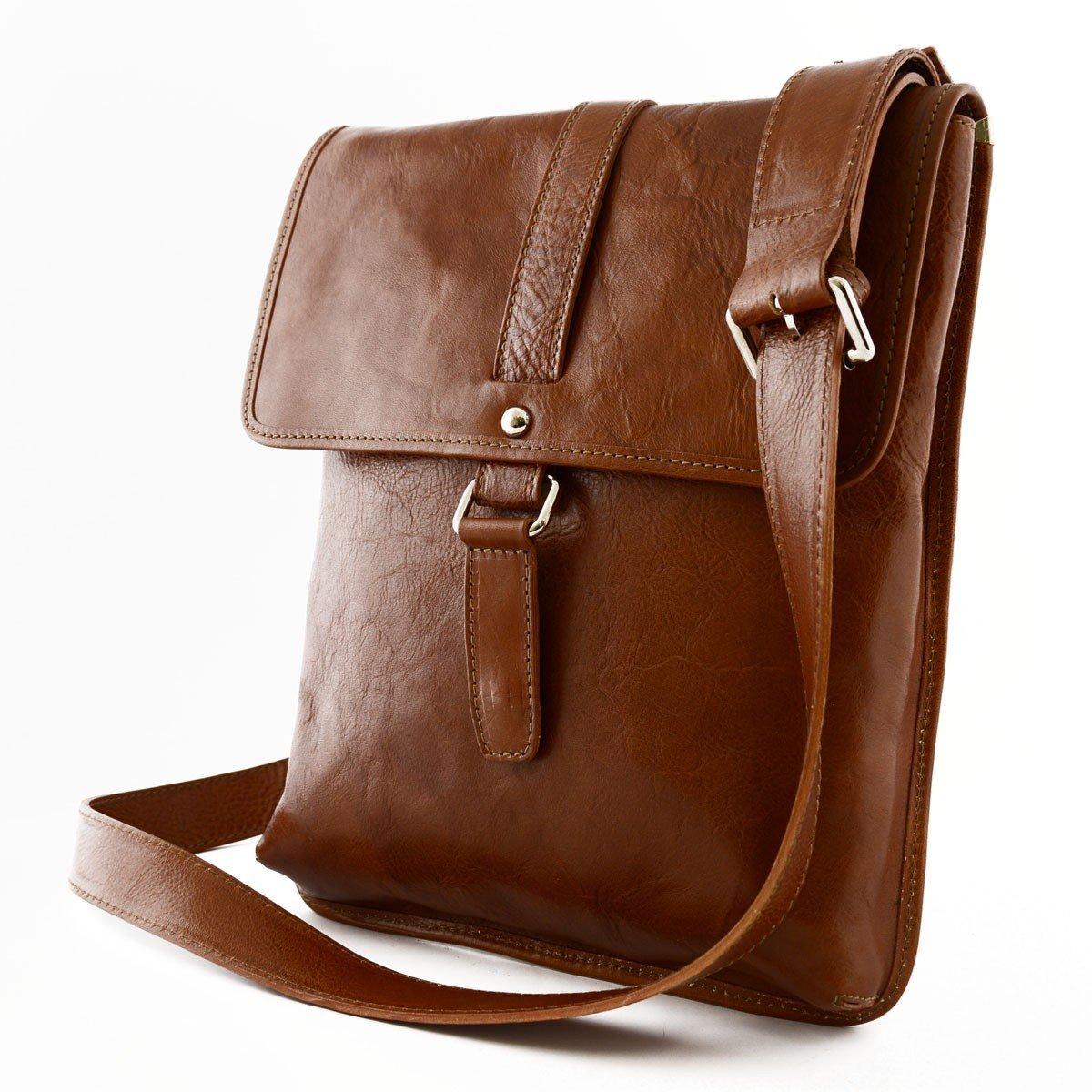 Magnetic Closure Color Cognac Genuine Leather Man Bag