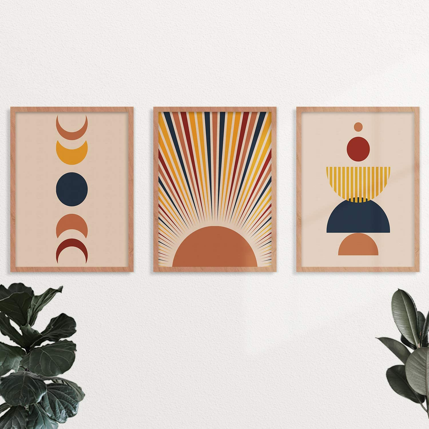 YUMKNOW Boho Sun Wall Art - Umframed 8x10 Set of 3, Drawing Line Mid Century Modern Decor for Bedroom, Minimalist Wall Prints for Living Room, Terracotta Moon Aesthetic Posters Bathroom Office Gifts